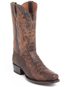 Dan Post Men's Caiman Belly Western Boots - Snip Toe, Chocolate, hi-res