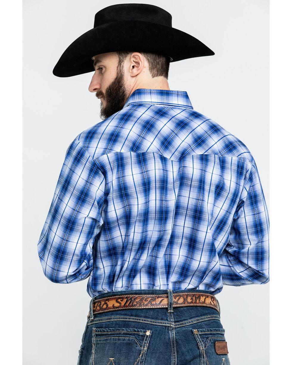 Ely Cattleman Men's Textured Dobby Plaid Long Sleeve Western Shirt , Blue, hi-res