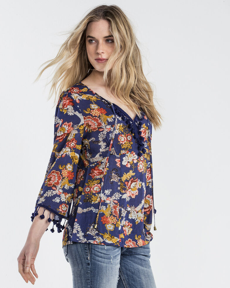 Miss Me Women's Navy Floral Frenzy Peasant Top , Navy, hi-res