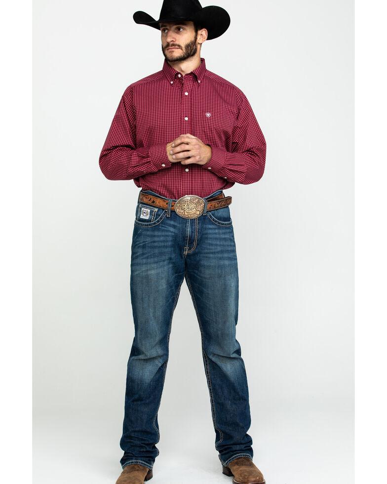 Ariat Men's Waggerland Check Plaid Long Sleeve Western Shirt , Burgundy, hi-res