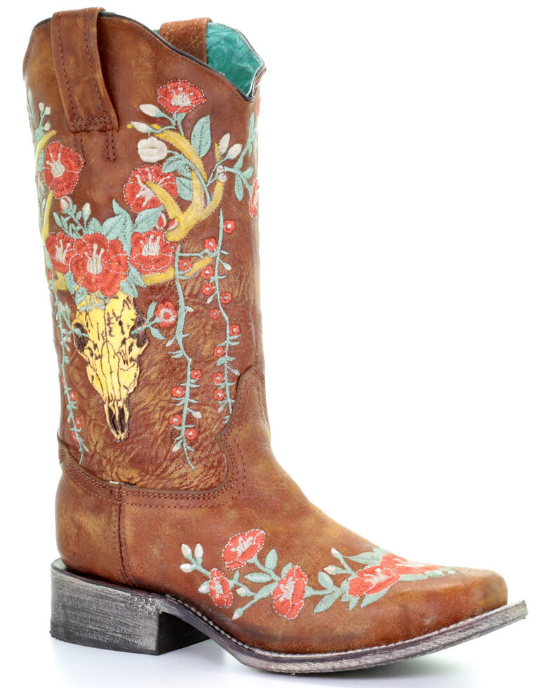 Corral Women's Deer Skull Overlay Western Boots - Square Toe, Brown, hi-res