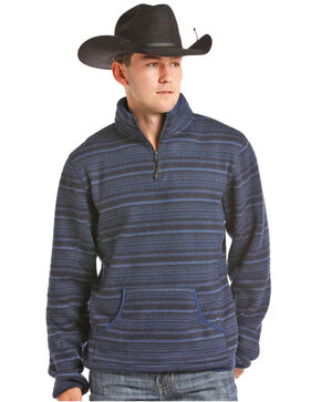 Powder River Outfitters Men's Quarter Zip Horizontal Ombre Pullover, Blue, hi-res