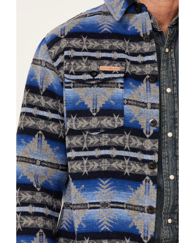 Powder River Outfitters Men's Blue Aztec Print Button-Front Wool Shirt Jacket , Blue, hi-res