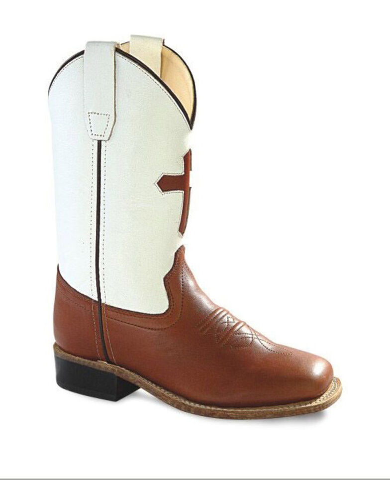 Old West Boys' Shaft Cross Western Boots - Wide Square Toe, Multi, hi-res