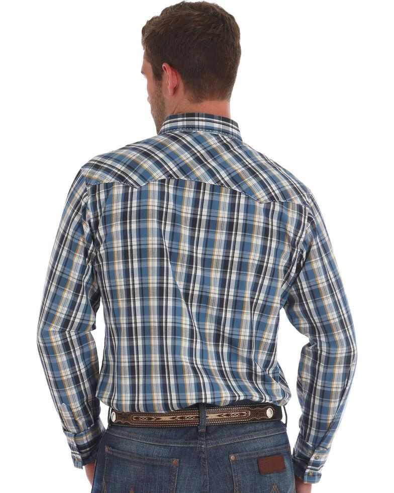 Wrangler Men's Multi Plaid Long Sleeve Snap Western Shirt , Blue, hi-res