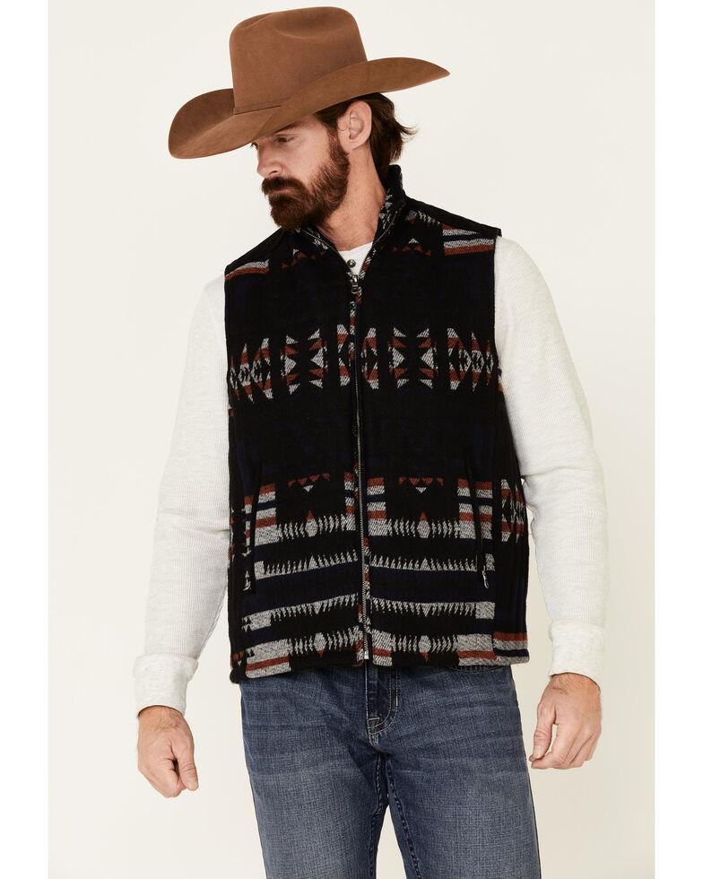 Cripple Creek Men's Black Navajo Blanket Wool Melton Vest , Black, hi-res