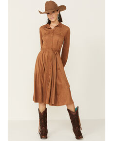 Flying Tomato Women's Suede Button Front Shirt Dress, Camel, hi-res