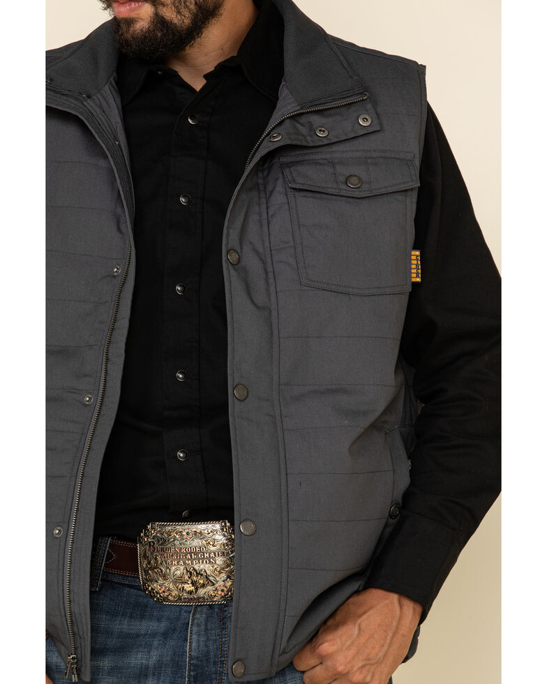 Cinch Men's Charocoal Canvas Coated Polyfill Puffer Vest , Charcoal, hi-res