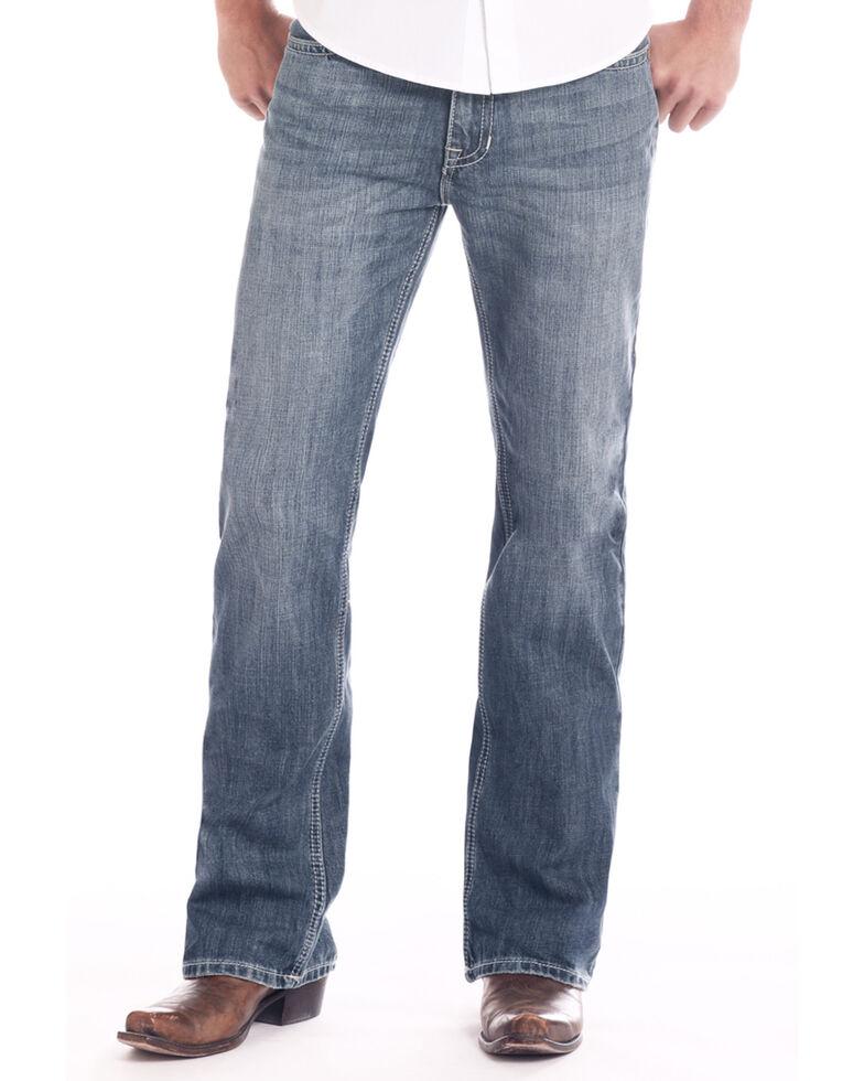 Rock & Roll Cowboy Men's Dark Pistol Regular Stretch Bootcut Jeans , Blue, hi-res