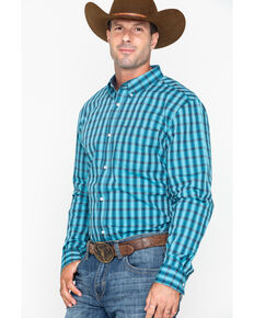 Cody James Core Men's Mountain Slim Plaid Long Sleeve Western Shirt , Turquoise, hi-res