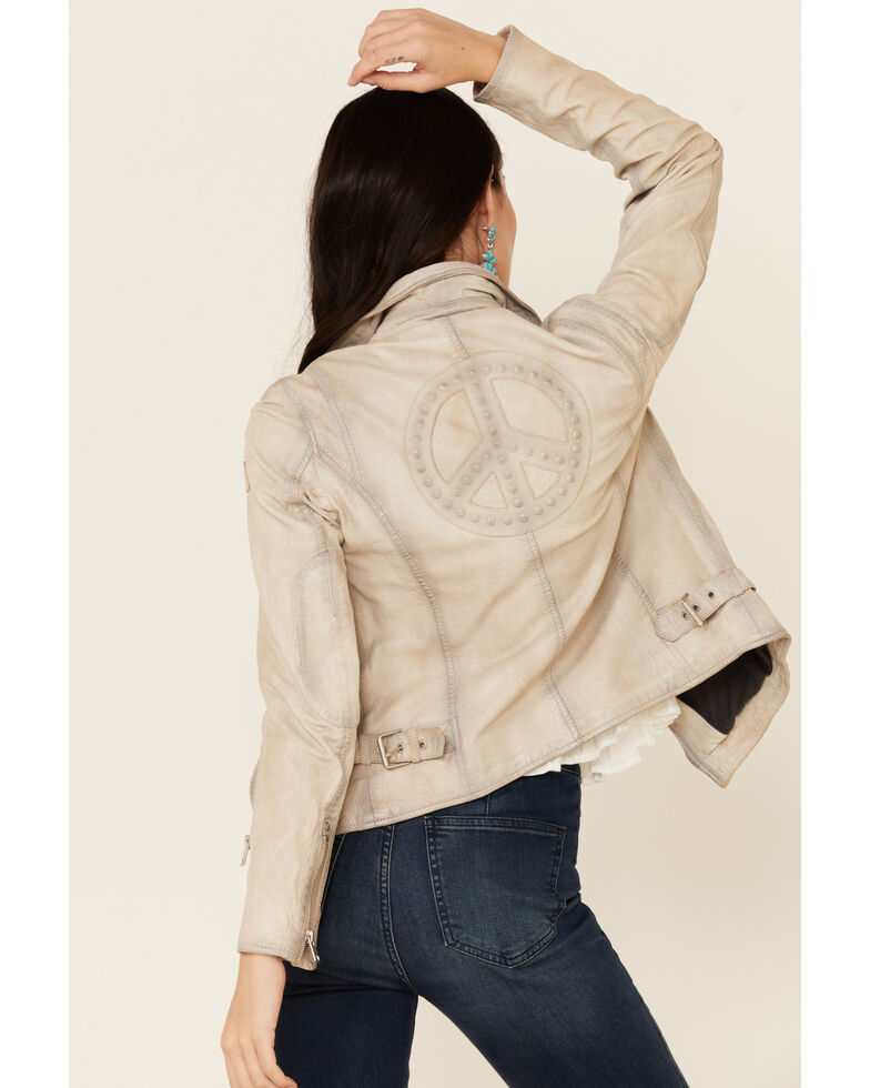 Mauritius Leather Women's Off-White Leather Peace Sign Moto Jacket, Off White, hi-res