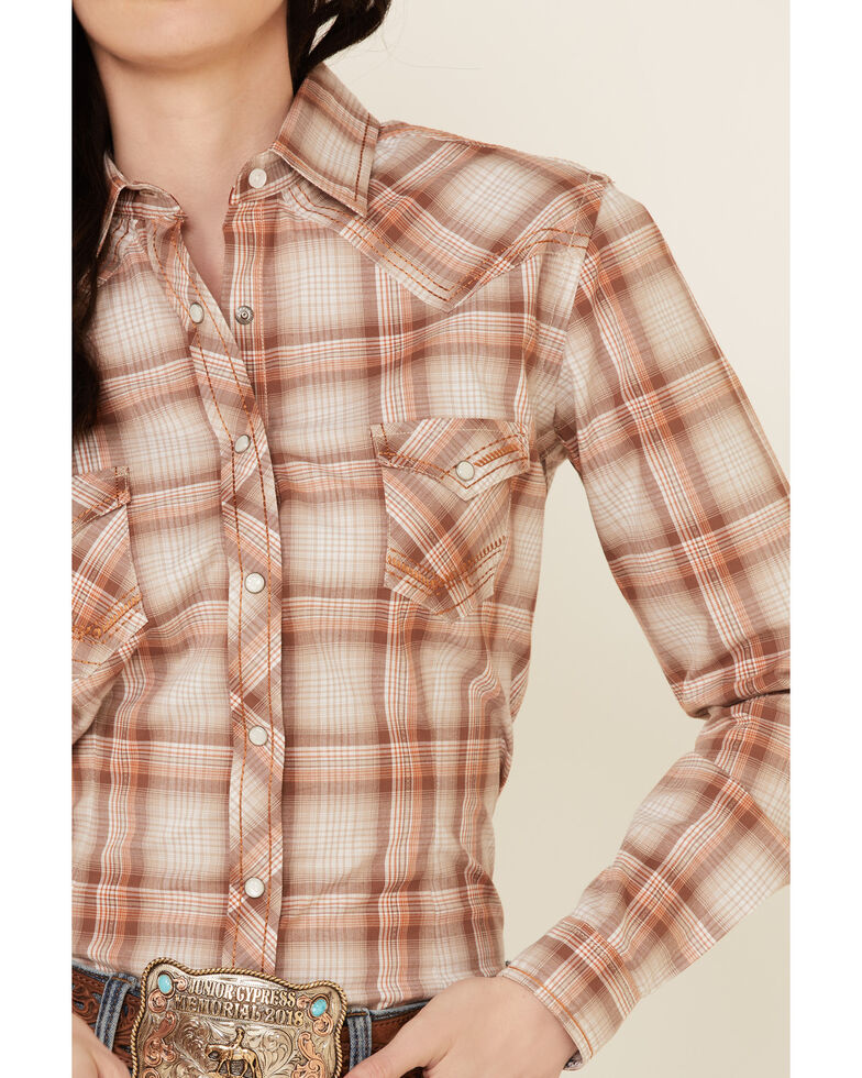 Rough Stock By Panhandle Women's Brown Ombre Plaid Long Sleeve Snap Western Core Shirt , Brown, hi-res