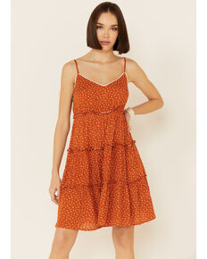 Nikki Erin Rust Women's Ditsy Floral Tiered Slip Dress, Rust Copper, hi-res