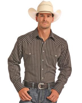 Panhandle Men's Brown Satin Dobby Stripe Shirt, Brown, hi-res