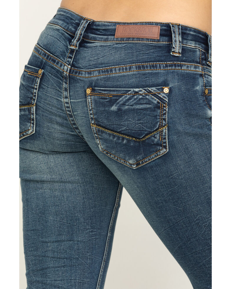 Rock & Roll Cowgirl Women's Vintage Dark Wash Low Rise Boot Riding Jeans, Blue, hi-res
