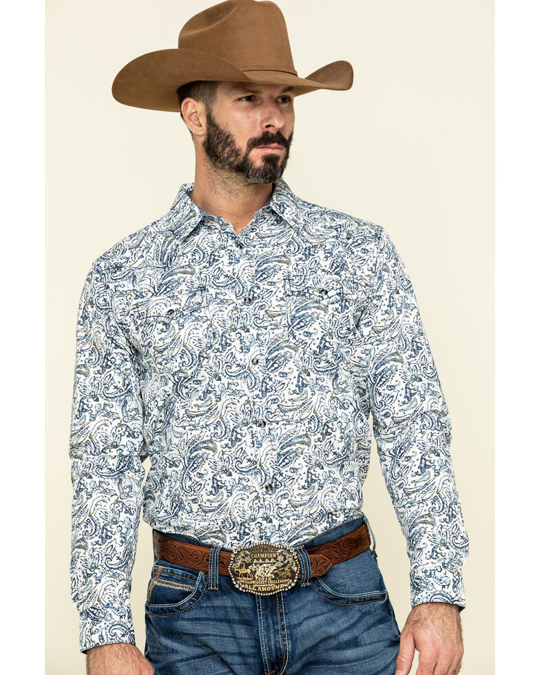 Cody James Men's Jumpin Claims Paisley Print Long Sleeve Western Shirt , Tan, hi-res