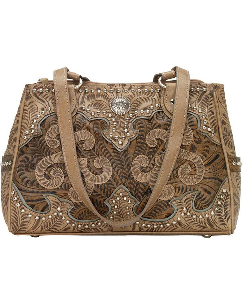 American West Women's Hand Tooled Concealed Carry Multi-Compartment Tote, Sand, hi-res