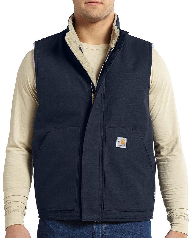 Carhartt Flame Resistant Mockneck Vest, Navy, hi-res