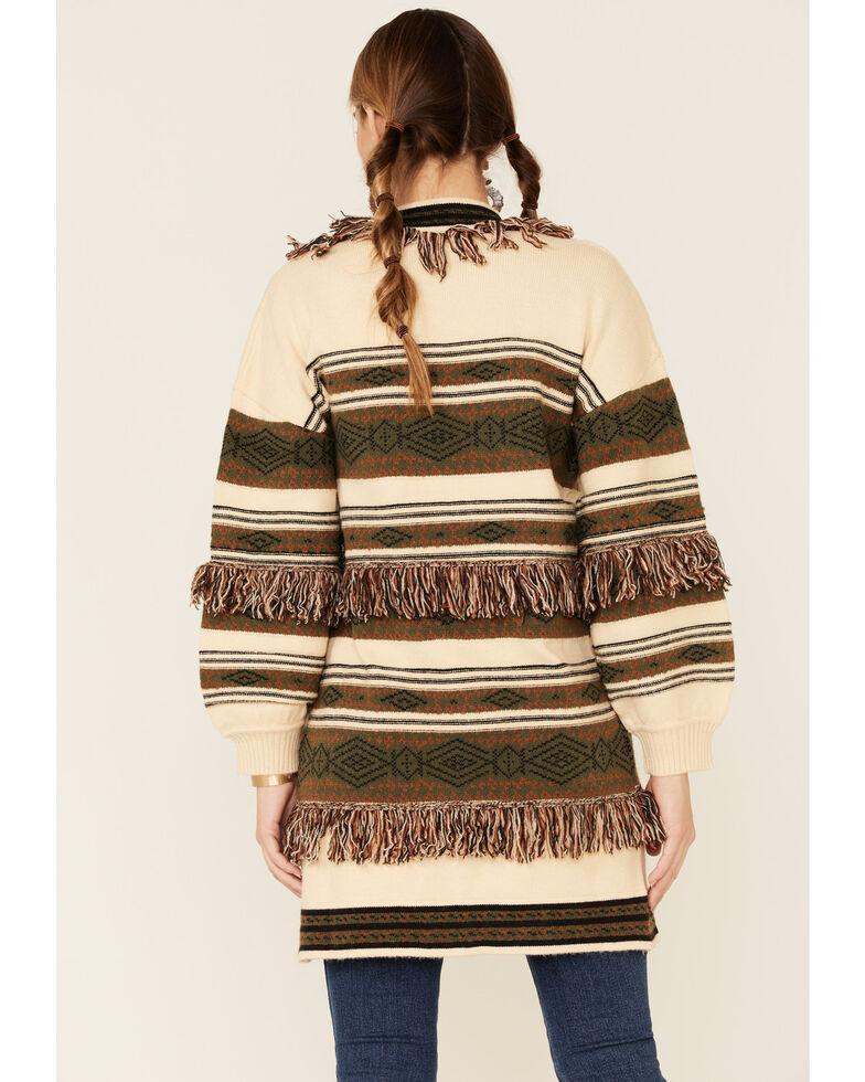Saints & Hearts Women's Aztec Stripe Fringe Open Sweater, Olive, hi-res