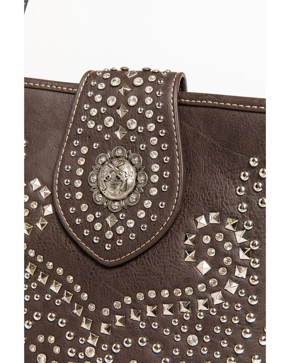 Shyanne Women's Rhinestone Swirl Crossbody Bag, Dark Brown, hi-res