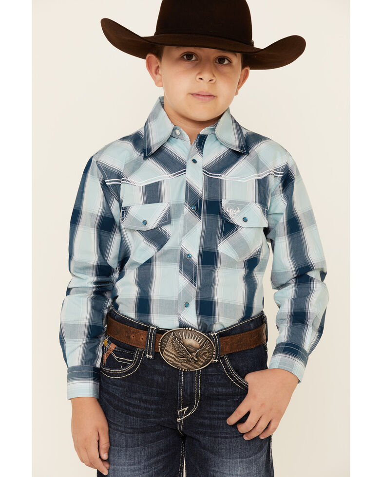Cowboy Hardware Boys' Blue Plaid Embroidered Long Sleeve Western Shirt , Steel, hi-res