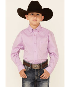 Panhandle Select Boys' Purple Solid Stretch Long Sleeve Button-Down Western Shirt , Purple, hi-res