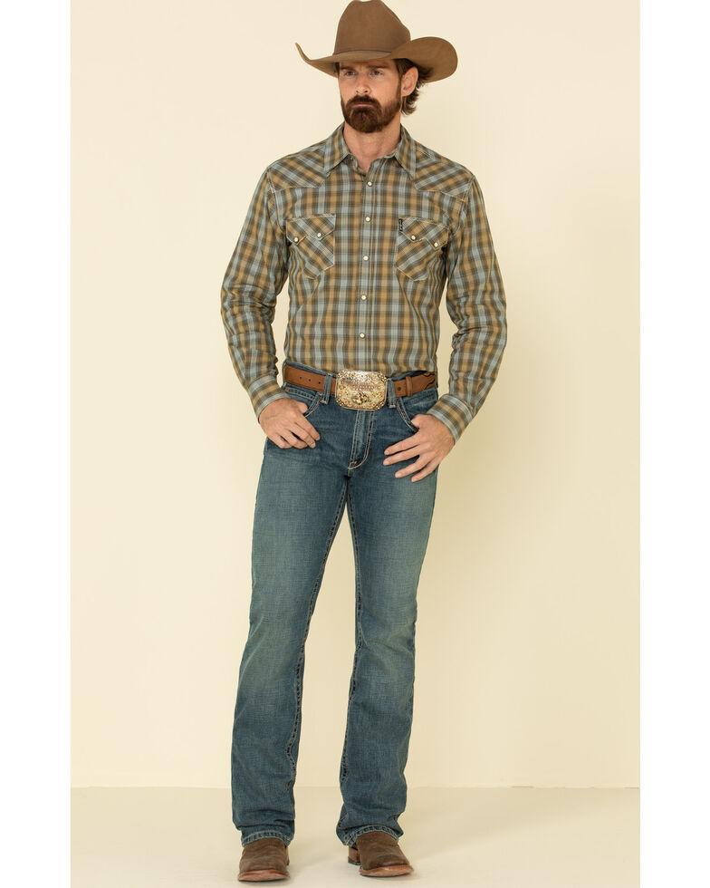 Cinch Men's Modern Fit Brown Plaid Long Sleeve Western Shirt , Brown, hi-res