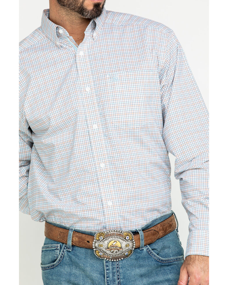Ariat Men's Lynwood Plaid Long Sleeve Western Shirt - Big , White, hi-res