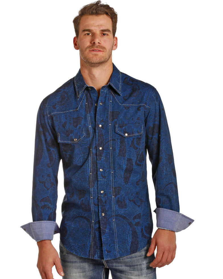 Rock & Roll Denim Men's Blue Paisley Print Long Sleeve Western Shirt , Blue, hi-res