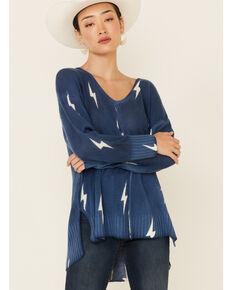 Elan Women's Blue Lightening V-Neck Pullover Sweater , Blue, hi-res
