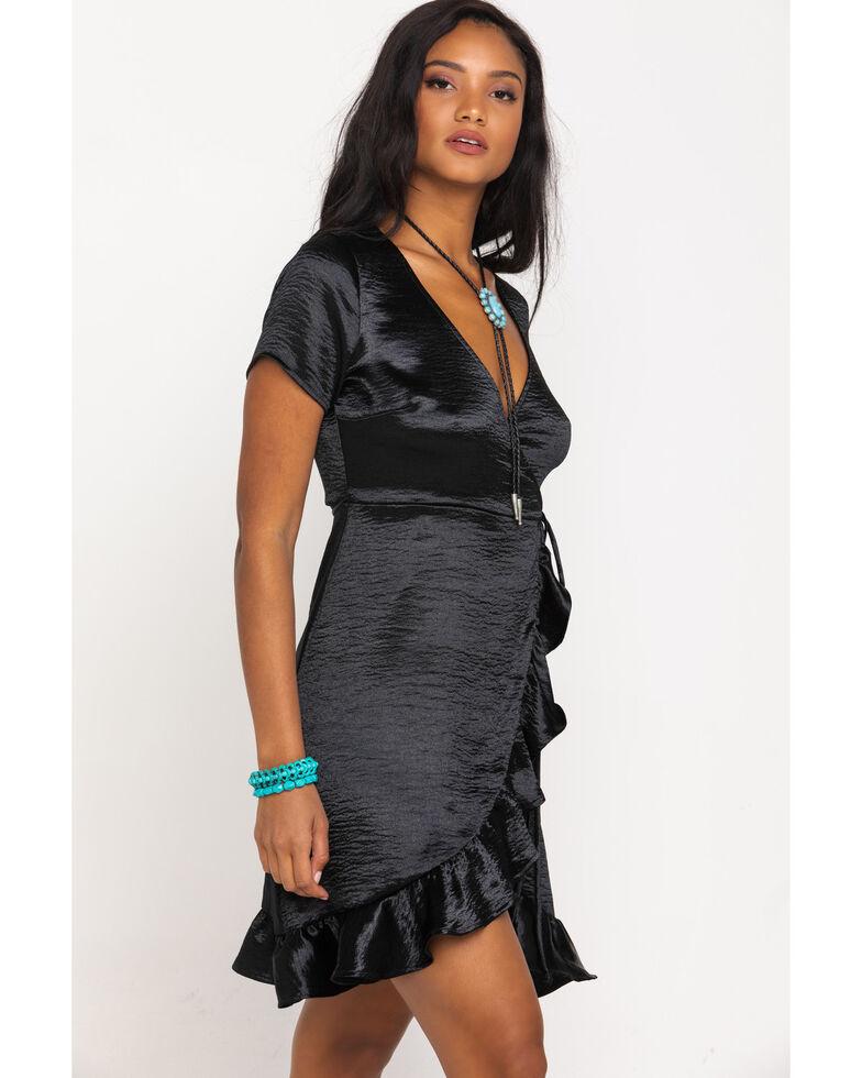 Luna Chix Women's Black Satin Surplice Wrap Dress, Black, hi-res