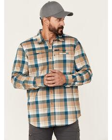 Wrangler ATG Men's All-Terrain Brown Plaid Hike-To-Fish Long Sleeve Button-Down Western Shirt , Brown, hi-res