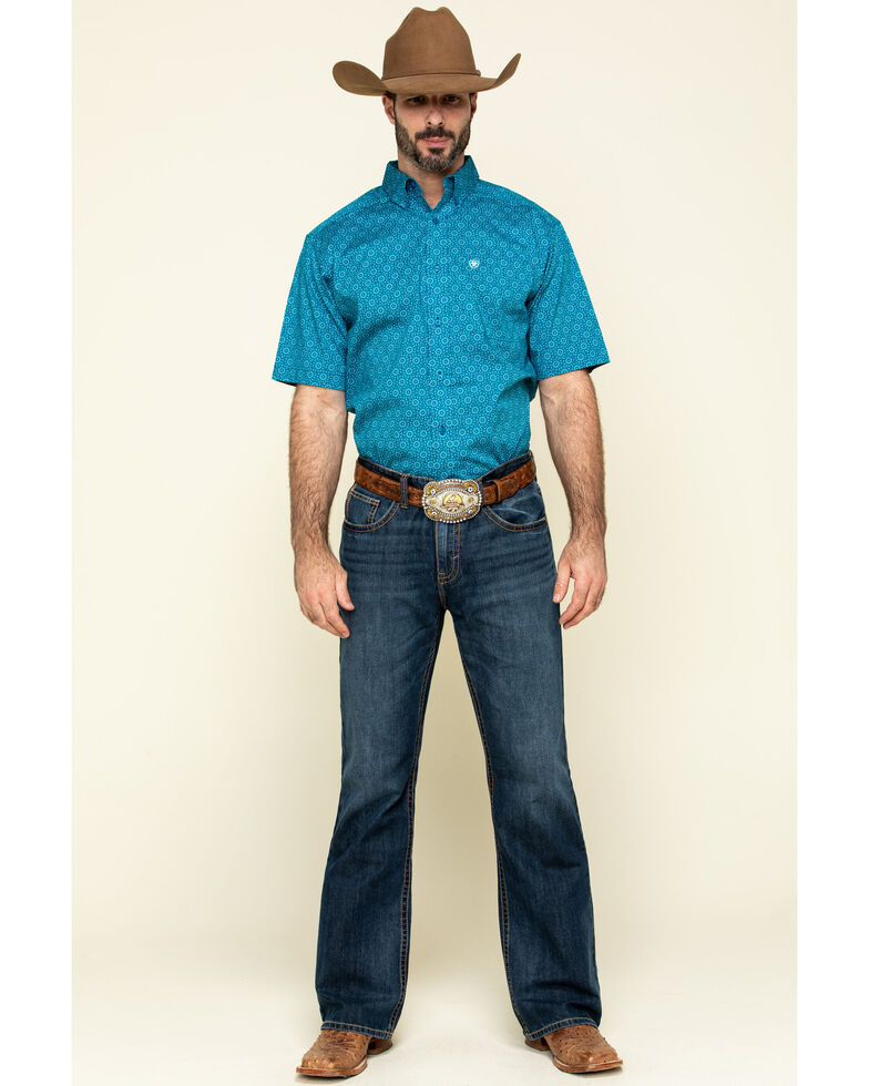 Ariat Men's Solano Multi Geo Print Short Sleeve Western Shirt - Big , Multi, hi-res