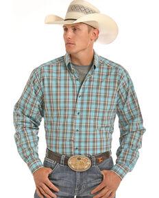 Tuf Cooper Men's Blue Plaid Competition Long Sleeve Western Shirt , Blue, hi-res