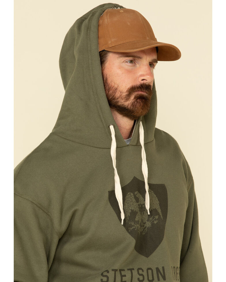 Stetson Men's Green Eagle In Shield Graphic Hooded Sweatshirt , Grey, hi-res