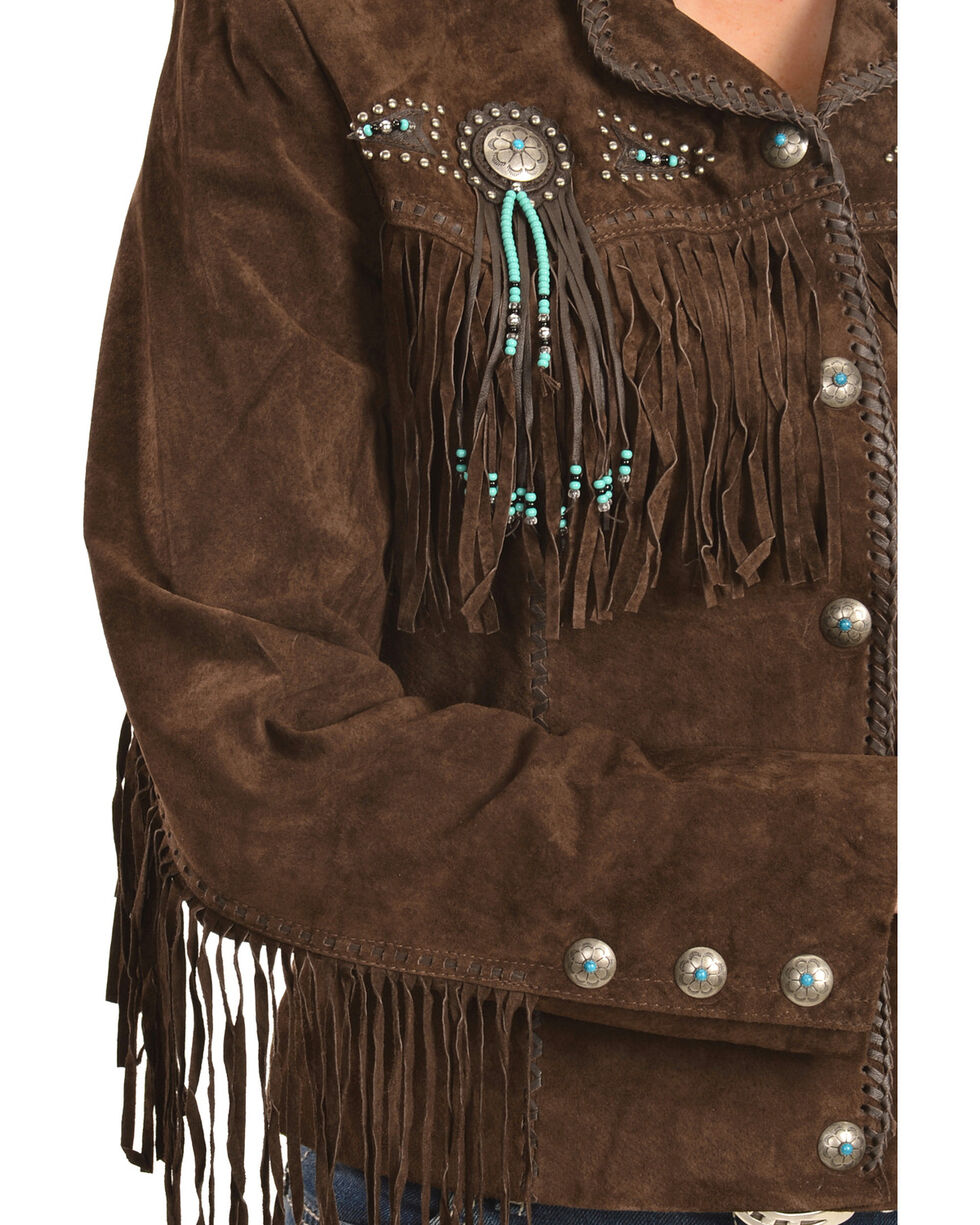 Scully Fringe & Beaded Boar Suede Leather Jacket, Chocolate, hi-res