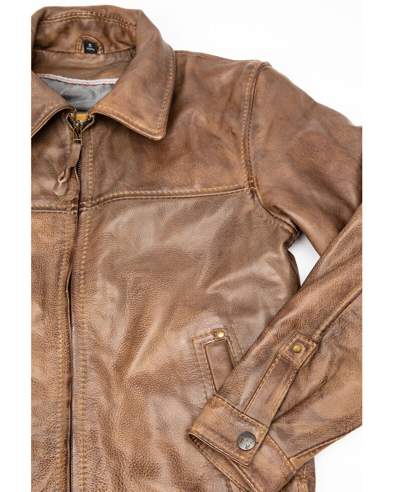 STS Ranchwear Boys' Cream Youth Turnback Leather Jacket, Cream, hi-res