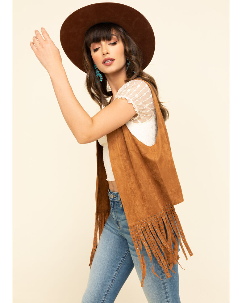 Vocal Women's Studded Fringe Vest , Camel, hi-res