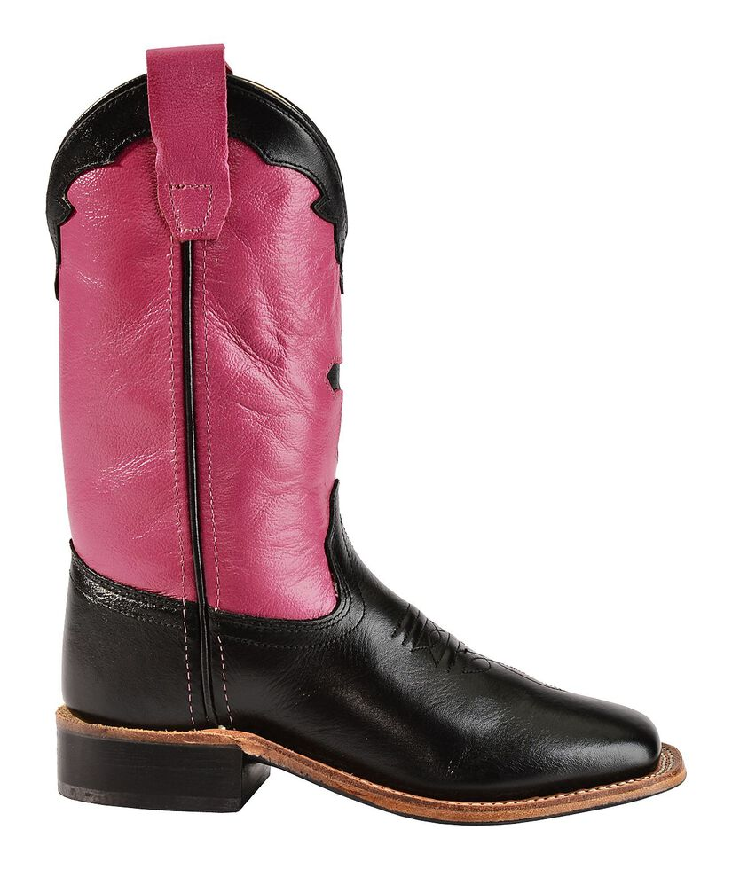 Old West Girls' Hot Pink Cross Inlay Cowgirl Boots - Square Toe, Black, hi-res