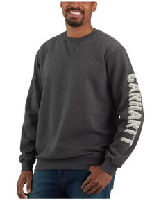 Carhartt Men's Heather Charcoal Midweight Crew Logo Sleeve Work Sweatshirt , Charcoal, hi-res