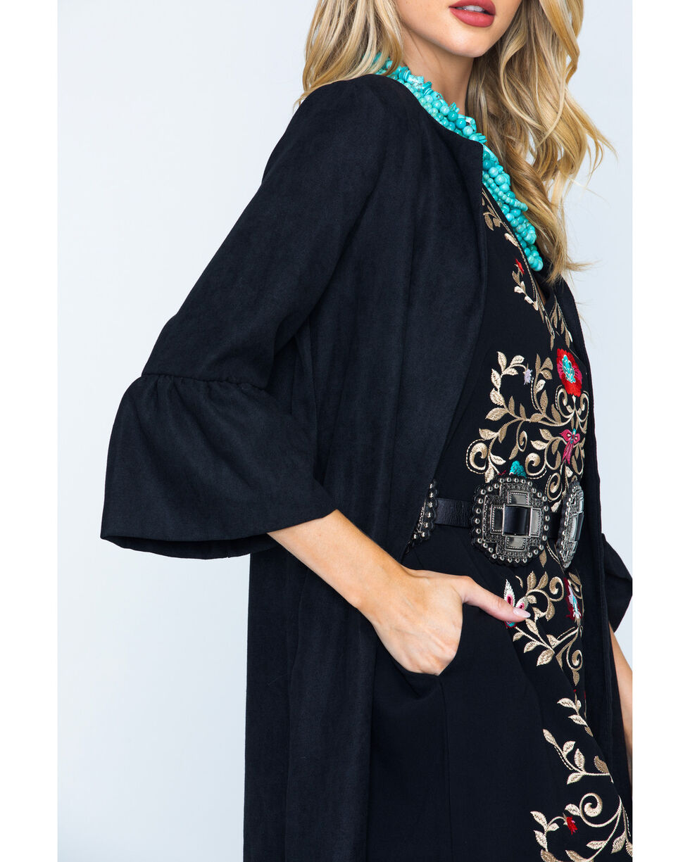 CES FEMME Women's Black Bell Sleeve Open Front Cardigan , Black, hi-res