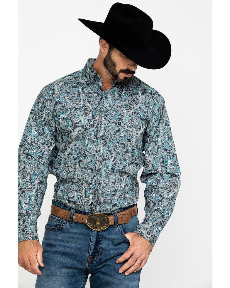 Tuf Cooper Men's Stretch Paisley Print Long Sleeve Western Shirt , Charcoal, hi-res