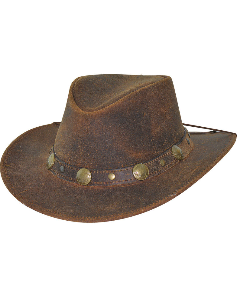 Bullhide Men's Brown Crackled Leather Hat , , hi-res
