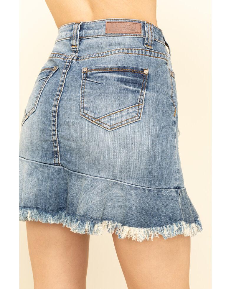 Rock & Roll Denim Women's Denim Ruffle Hem Mini Skirt, Blue, hi-res