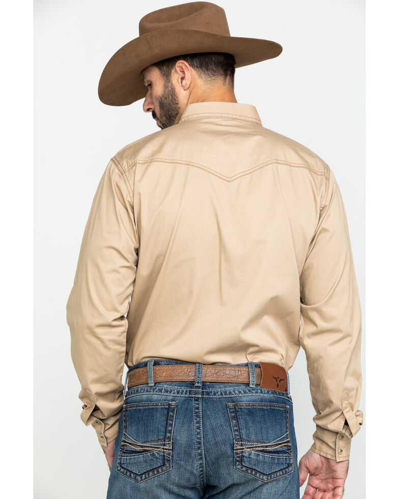 Wrangler Retro Men's Tan Solid Long Sleeve Western Shirt , Tan, hi-res