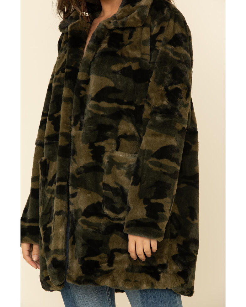 Katydid Women's Green Camo Faux Fur Lined Jacket , Camouflage, hi-res