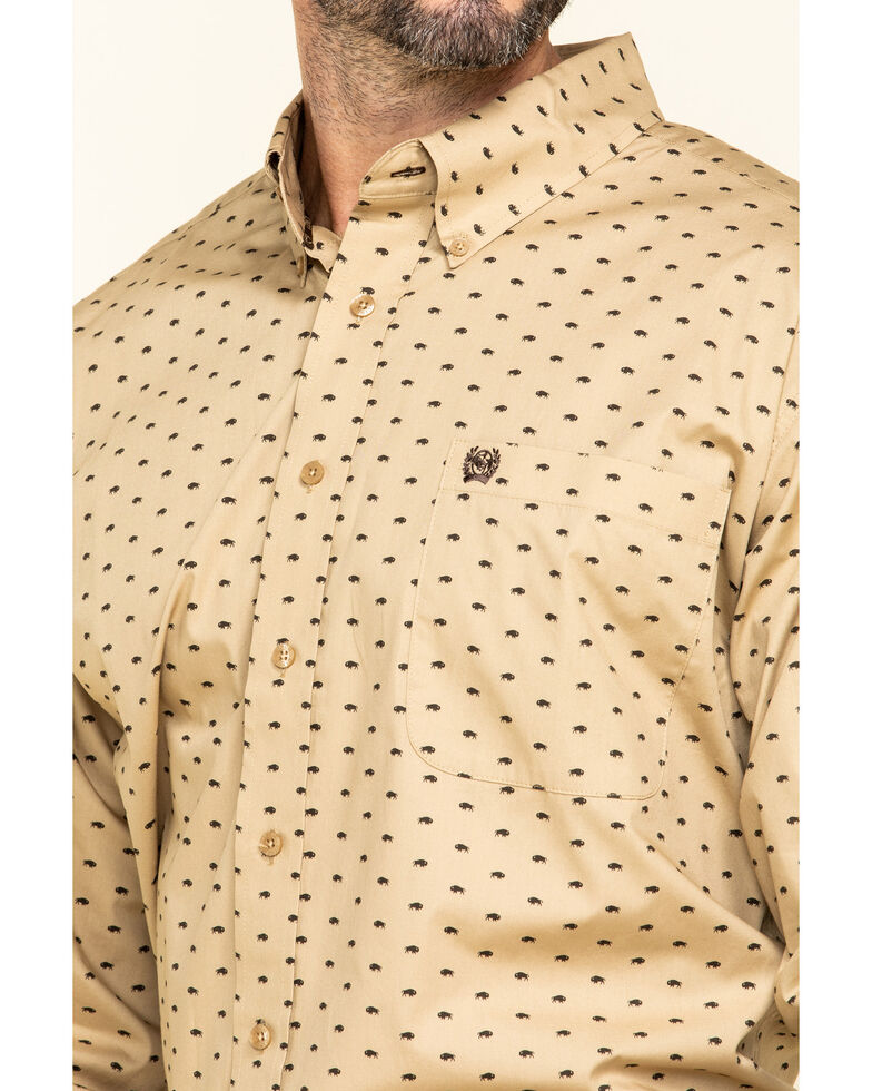 Cinch Men's Khaki Buffalo Print Long Sleeve Western Shirt , Beige/khaki, hi-res