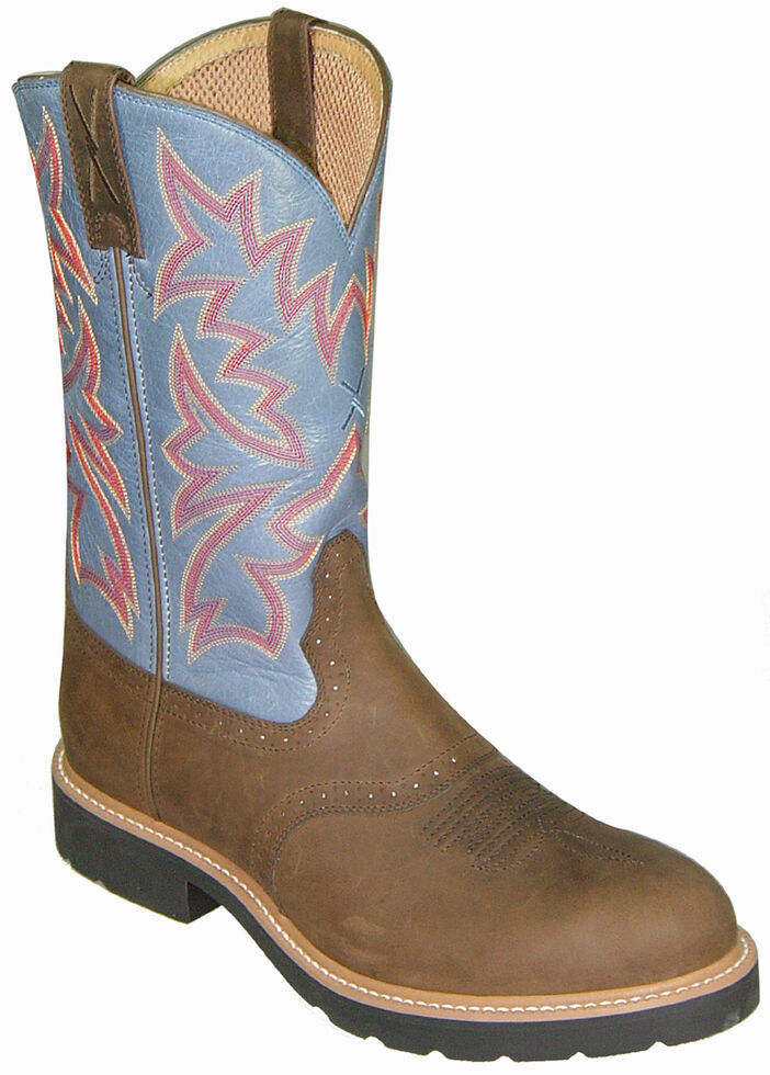 Twisted X Denim Blue Cowboy Pull-On Work Boots - Soft Round Toe, Brown, hi-res