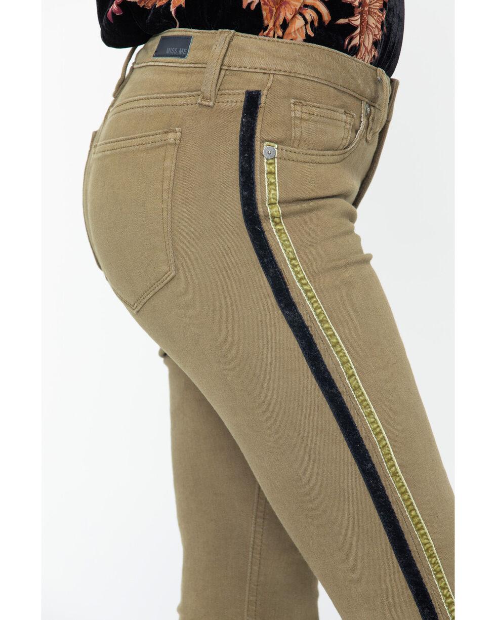 Miss Me Women's Velvet Leg Trim Ankle Skinny Jeans , Olive, hi-res