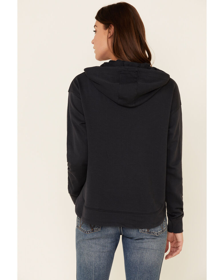 Wrangler Women's Navy Aqua Logo Front Graphic Hooded Sweatshirt , Navy, hi-res
